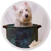 Bath Time Westie Round Beach Towel