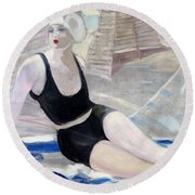 Bather In A Black Swimsuit Round Beach Towel