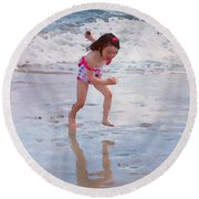 Bathing Beauty Running Round Beach Towel