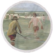 Bathing Boys With Crab Fisherman Round Beach Towel