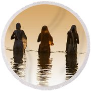 Bathing In The Holy River 2 Round Beach Towel