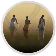 Bathing In The Holy River By Dominique Amendola Round Beach Towel