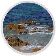 Bathing In The Sea - La Coruna Round Beach Towel by Mary Machare