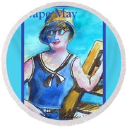Bathing Suit Beauty Poster Round Beach Towel