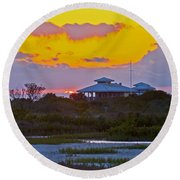 Bathouse Sunset Round Beach Towel