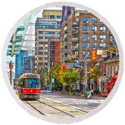 Bathurst Street Car Coming North To Queen Street Round Beach Towel