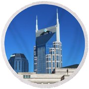 Batman Building And Nashville Skyline Round Beach Towel