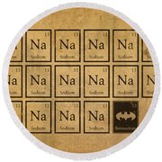 Batmantium Periodic Table Element Chart Nerd Chemistry Student Superhero Humor Round Beach Towel by Design Turnpike
