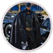 Batmobile And Batman Round Beach Towel by Tommy Anderson