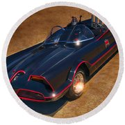 Batmobile Round Beach Towel by Tommy Anderson
