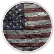 Battered Old Glory Round Beach Towel