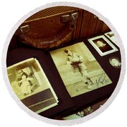 Battered Suitcase Of Antique Photographs Round Beach Towel