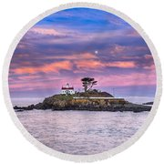 Battery Point Lighthouse And Moon Round Beach Towel