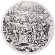 Battle Between Tuppin Tribes Round Beach Towel