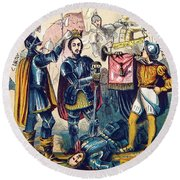 Battle Of Bosworth, Henry Vii Crowning Round Beach Towel
