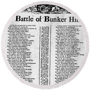 Battle Of Bunker Hill Round Beach Towel