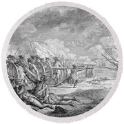 Battle Of Lexington, April 19th 1775, From Recueil Destampes By Nicholas Ponce, Engraved Round Beach Towel