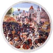Battle Of Nevilles Cross 1346 Round Beach Towel