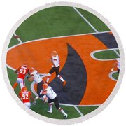 Battle Of Ohio Watercolor Round Beach Towel by Dan Sproul