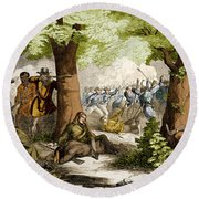 Battle Of Oriskany, 1777 Round Beach Towel