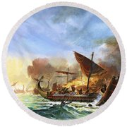 Battle Of Salamis Round Beach Towel