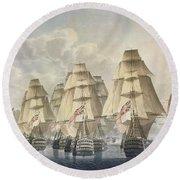 Battle Of Trafalgar Round Beach Towel by Robert Dodd