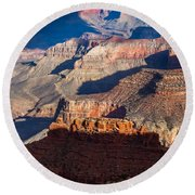 Battleship Rock At The Grand Canyon Round Beach Towel