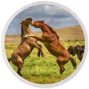 Battling Stallions Round Beach Towel