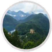 Bavarian Lake With Castle Round Beach Towel