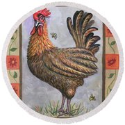 Baxter The Rooster Round Beach Towel