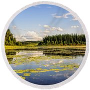 Bay At The Waskesiu Lake With Lily Round Beach Towel