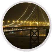 Bay Bridge Fog Round Beach Towel