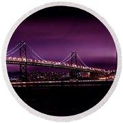 Bay Bridge Purple Haze Round Beach Towel