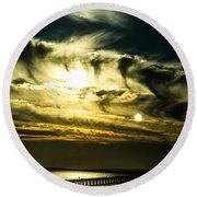 Bay Bridge Sunset Round Beach Towel