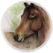 Bay Horse Portrait Watercolor Painting 02 2013 A Round Beach Towel