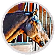 Bay In Stall Round Beach Towel
