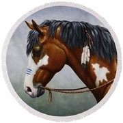 Bay Native American War Horse Round Beach Towel by Crista Forest
