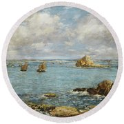 Bay Of Douarnenez Round Beach Towel by Eugene Louis Boudin