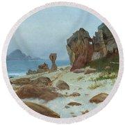 Bay Of Monterey Round Beach Towel by Albert Bierstadt