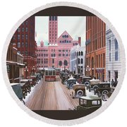 Bay Street Christmas Eve 1924 Round Beach Towel