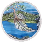 Bay View In Oregon Round Beach Towel