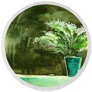 Bay Window Plant Round Beach Towel