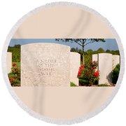 Bayeux British Cemetery Unknown Soldier Round Beach Towel