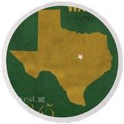 Baylor University Bears Waco Texas College Town State Map Poster Series No 018 Round Beach Towel