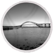 Bayonne Bridge Long Exposure Bw Round Beach Towel