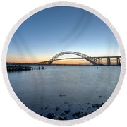 Bayonne Bridge Longe Exposure Sunset Round Beach Towel