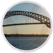 Bayonne Bridge Panoram Sunset Round Beach Towel