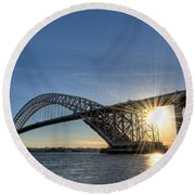 Bayonne Bridge Sunburst Round Beach Towel
