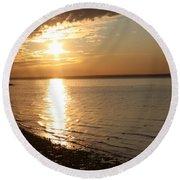 Bayville Sunset Round Beach Towel by John Telfer