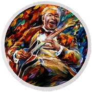 Bb King - Palette Knife Oil Painting On Canvas By Leonid Afremov Round Beach Towel